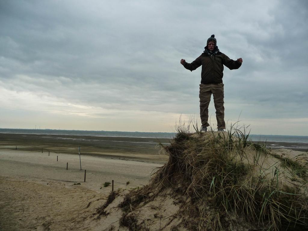 Großer Gipfelstürmer: Stefan vor der Ostküste Langeoogs