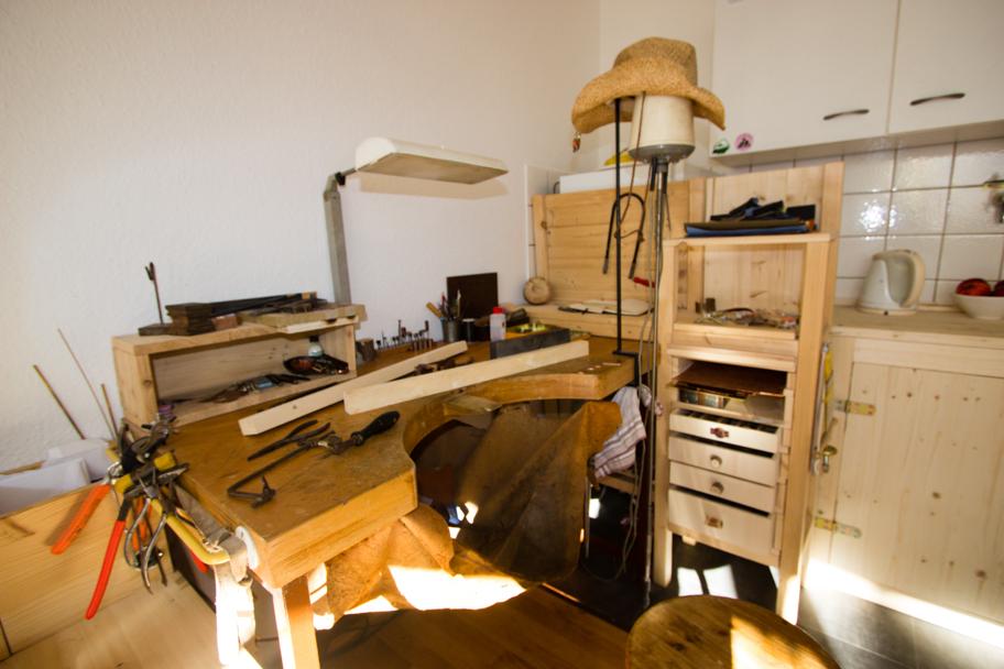 Jochens Wohnzimmer mit Handwerkerbank